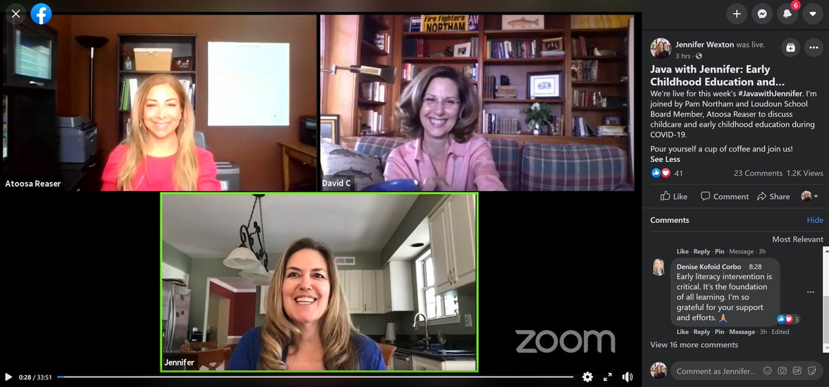 A big thank you to @PamNorthamVA & @AtoosaReaser for joining today's #JavawithJennifer. ☕️💻   Don't worry if you couldn't watch live! Our full conversation on early childhood education and childcare can be found on my on my Facebook page⬇️ https://t.co/Jor9ZjhHSn https://t.co/WqqShtHnPq
