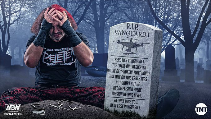 Matt Hardy Morns Loss Of Vanguard 1 and Warns Guevare, AEW Shares Drone's Tombstone Epitaph (Photo)