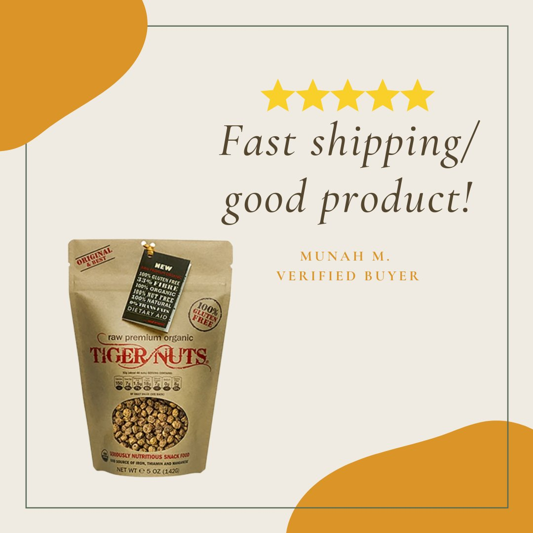 Thank you Munah H. for the nice review!   Tiger Nuts Raw Premium Organic variants:   1kl @ $23.99  12oz @ $13.99       5oz @ $5.99     Shop at http://www.tigernutsusa.com  Have a healthy snacking! #nonuts #peanutfree #tigernutpic.twitter.com/nIw8i52IlP