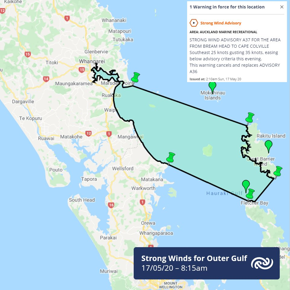 Boaties intending on heading to the northern areas of the Hauraki Gulf be advised there is currently a Strong Wind Advisory in effect for more details go to metservice.com/warnings/marin… ^AB