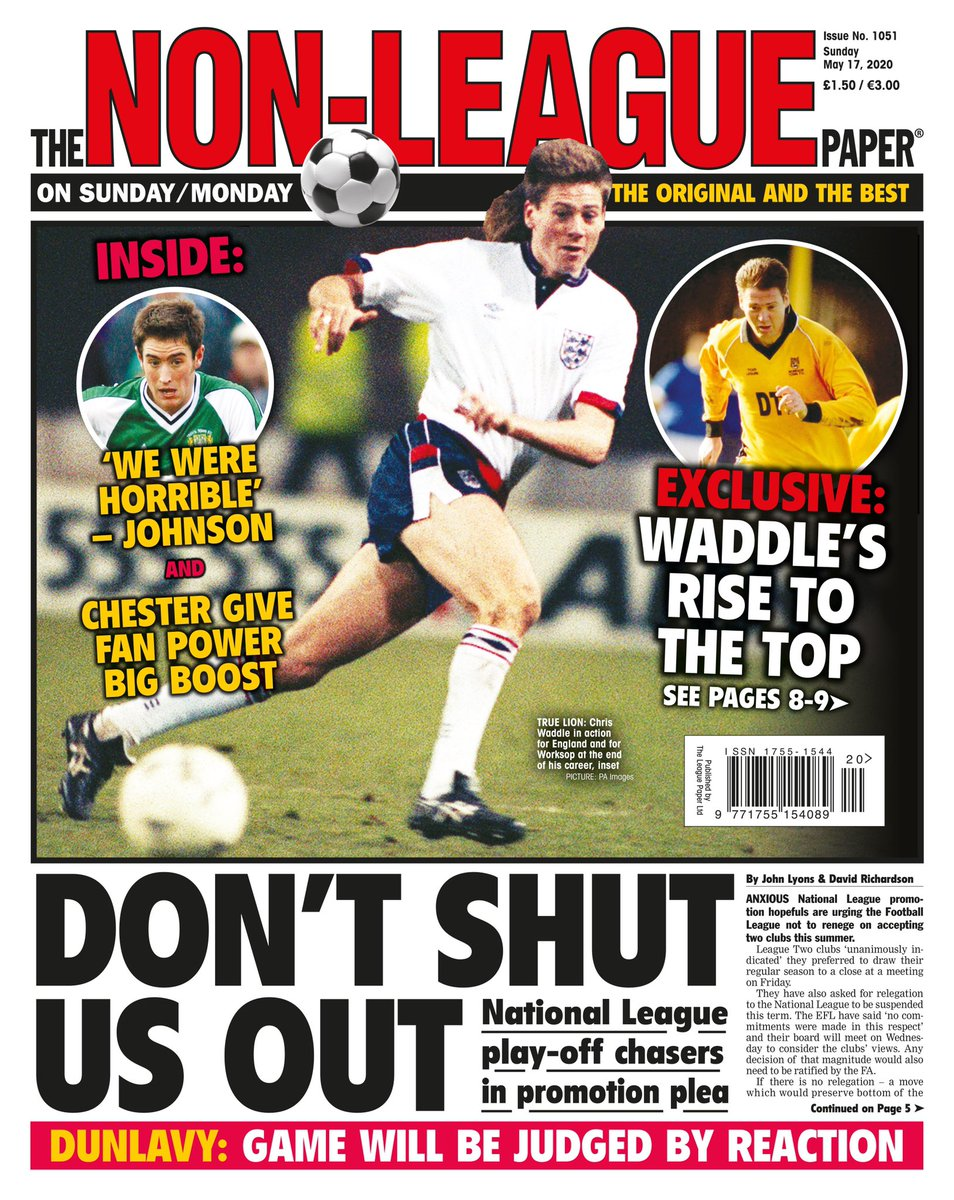 Sunday's NLP: DON'T SHUT US OUT  ❌ National League play-off chasers make promotion plea  ⚽️ Chris Waddle on his rise to the top  PLUS: Lee Johnson, FA Trophy 2010s, @HillyTheFish/@AndyCSP columns, Andy Morrell, @Dwrighty9 and more!  Available online: https://t.co/UDnlQ90nBf https://t.co/7cgCUZPXk2