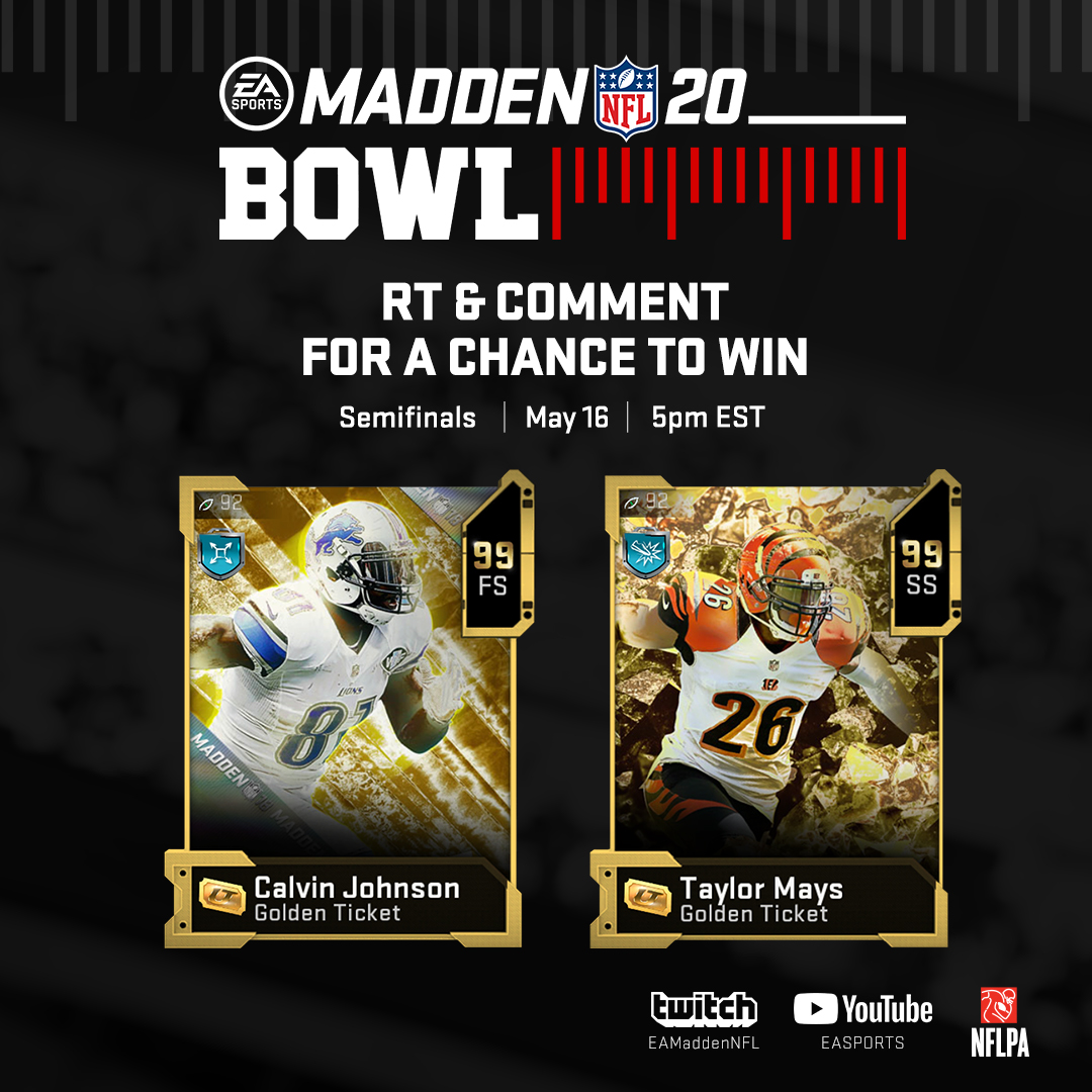 RT @EASPORTS_MUT: The #MaddenBowl Semifinals are here!  Watch Live: https://t.co/psQWNe6tHl https://t.co/zA0FPFWKuS