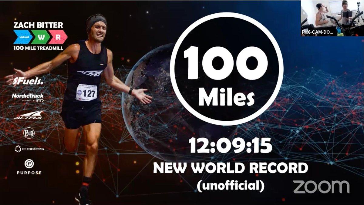 【速報】ザック・ビター Zach Bitter @zbitter (@sfuelsgolonger)がトレッドミルでの100マイル走を12時間9分15秒で完走して世界新記録を更新。これまでの世界記録はデイブ・プロクター Dave Proctorが昨年記録した12時間32分。ビターはトラックでの100マイルの世界記録保持者(11時間19分13秒)。