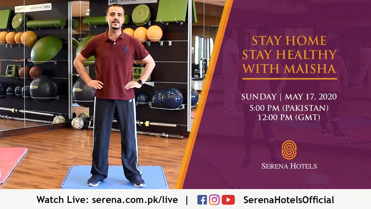 Build strength, burn calories, get lean, and have fun in 30 minute workout session with Maisha, the world luxury Spa award winner.  Watch Live on Sunday, May 17 at 5:00 pm (PST)   12:00 pm (GMT) on https://t.co/CKL9uloMfi or Facebook/YouTube/Instagram @SerenaHotelsOfficial https://t.co/D1SaiOloR6