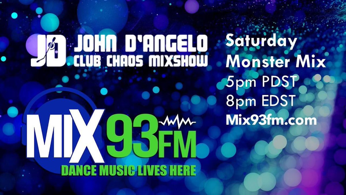 Join my Saturday Night Club Chaos Monster Mix #311 5pm PDST @mix93fm @UKShapeshifters ft @ItsMeKimDavis @giuseppedmusic @Luca_Debonaire #cacciola ft @feliciapunzo @djtoddterry ft @Martha_Wash #jocelynbrown @Syleena_Johnson  @PerryTwins @VintageCulture http://www.mix93fm.com pic.twitter.com/EvEUXumghl
