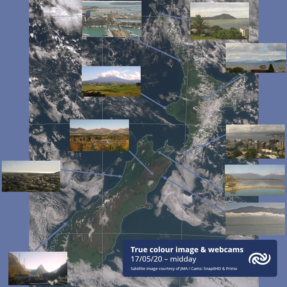 A snapshot of New Zealand around midday today    The true colour satellite imagery comes to us from the Japan Meteorological Agency. Webcams mostly from our friends at SnapitHD but the Taranaki image from Primo. ^AB