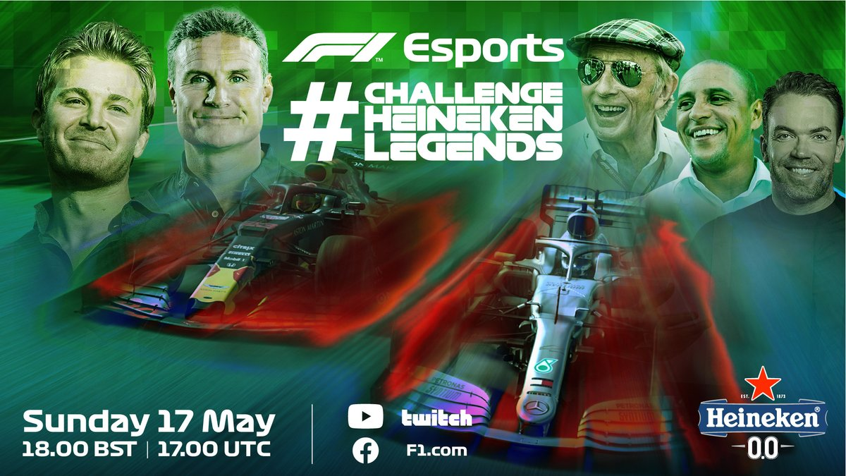 🚨 SUNDAY STREAM! 🚨  @nico_rosberg and @therealdcf1 go up against each other in a series of races, with appearances from other @Heineken stars, including Roberto Carlos ⚽️🇧🇷  Watch on F1's YouTube, Facebook and Twitch from 1700 UTC (1800 UK time)  #ChallengeHeinekenLegends https://t.co/OPY6elCZwk