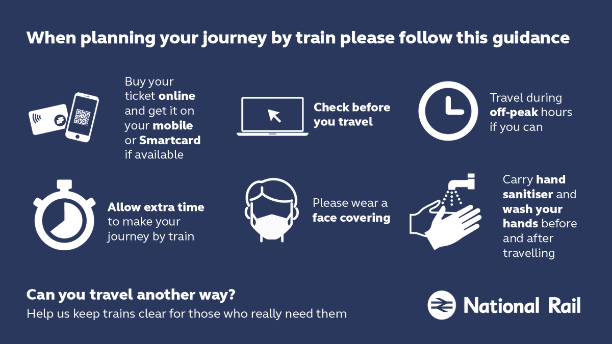 ℹ️Following government advice, please only take public transport if you have no other options. 🚄❌ Were still running a reduced service, so help us keep the railway clear for those who need it most. 📅 Plan ahead 😷 #ConsiderOthers 🧼 #TravelSafely ➡️ bit.ly/2WrlEll
