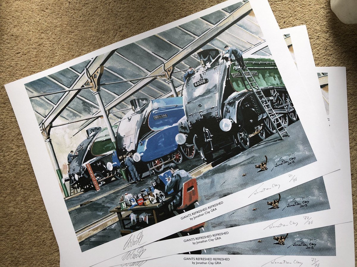 Mrs H had a sort out, and we found print no.71,72 and 73 of @ClayJonathan 'Giants Refreshed Refreshed' print. Offering this and our @TomTheDoodler print for £65 inc P&P. There's only 3 chances to get hold of this ECML speed machine pairing!! Email ian@heritage-painting.com