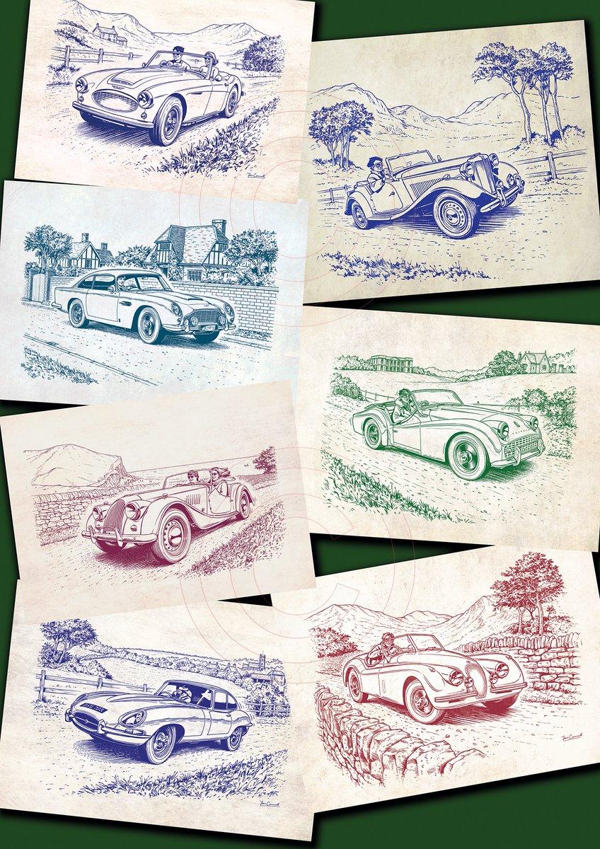 By way of a change, a few classic car drawings! #classiccars #art #illustration #JaguarXK120 #ETypeJaguar #Morgan4_4 #TriumphTR3 #AstonMartinDB5 #MGMidget #AustinHealey #automotiveart #carart