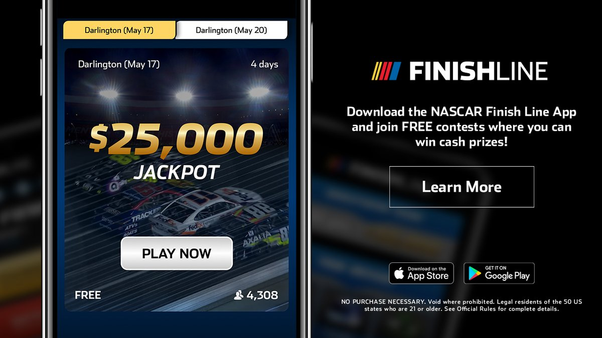The free to play NASCAR Finish Line app is your chance at $25,000! Download before #TheRealHeroes 400 for your chance: nas.cr/2wgIcKX