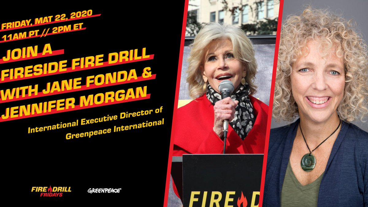 Join us May 22nd for a Fireside #FireDrillFriday with @JaneFonda & @ClimateMorgan, Executive Director of @Greenpeace! Learn about climate success stories from around the world, and what each of us can do to take climate action in our respective countries. greenpeace.zoom.us/webinar/regist…