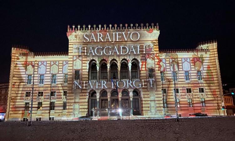 Sarajevo Haggadah displayed on City Hall facade honoring all innocent victims of the Holocaust, genocide and war crimes #sarajevohaggadah #sarajevocityhall #holocaustremembranceday https://t.co/60o0UR0AzN