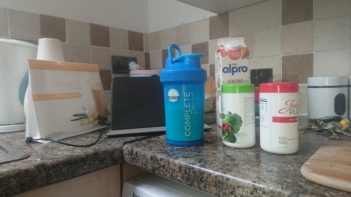 Loaded up with #juiceplus shake and capsules before finally getting back on the golf course this afternoon. Scientifically proven to ease allergies such as hay fever  pic.twitter.com/fVL71Ai4yL