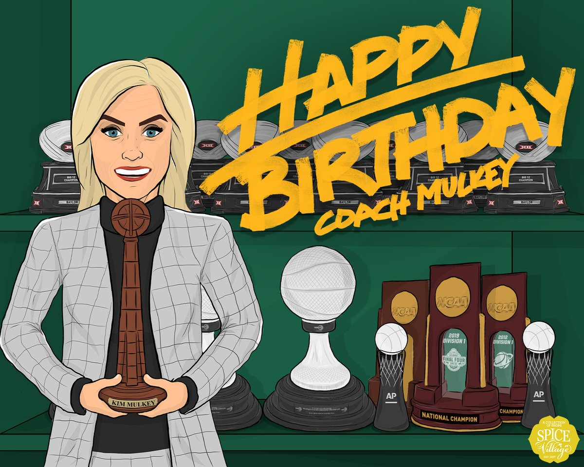 Happy Birthday to @kimmulkey! Not sure how much longer the Ferrell Center can hold all your hardware! #SicEm