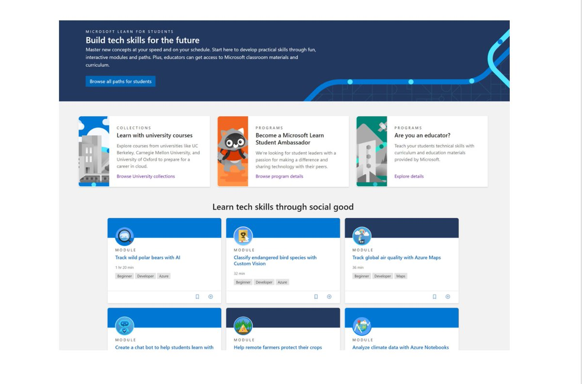 """Don't miss all the new resources in Microsoft's """"Skills for the Future"""" blog.  There's a new hub on Microsoft Learn for Educators and Students and new curriculum, developed with top universities and masses more 👉https://t.co/EaEYj15cbs 👉https://t.co/uFmqJxenHO to join our TEAM https://t.co/ZqjfDfwR6a"""