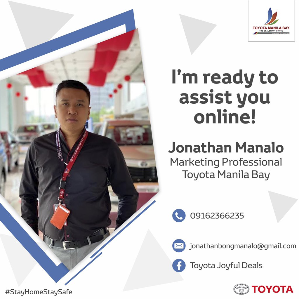 Worry Not  #StayHomeStaySafe I'm ready to assist you online!  Inquire now. #Toyota  pic.twitter.com/woyUofop7p