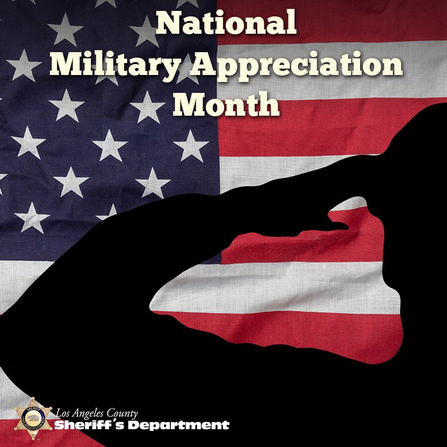 May is #NationalMilitaryAppreciationMonth, #LASD currently has 1450 department members who have served & are serving in the U.S. Armed Forces. We pay tribute to all military personnel from past & present. We thank you all for your service to our country.