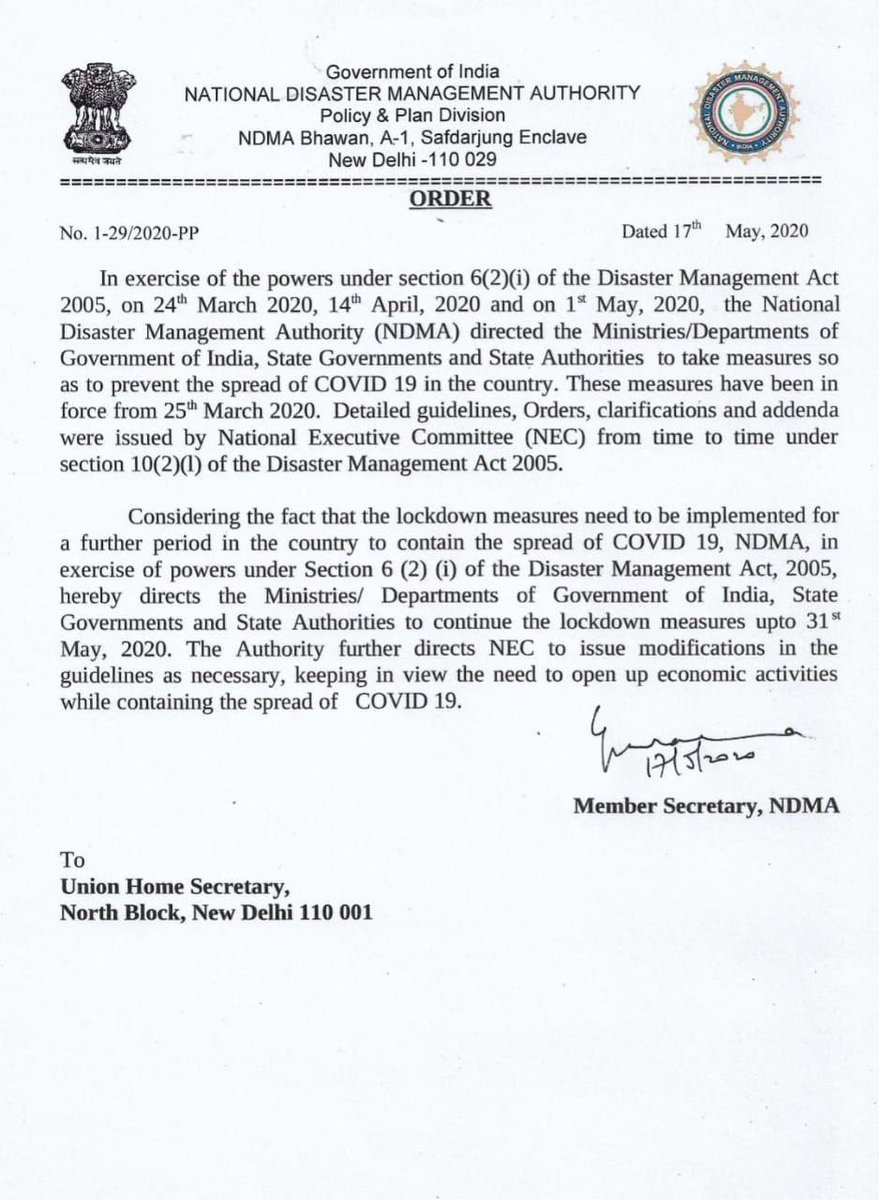 #NDMA orders extension of the Nationwide #Lockdown till 31st May 2020.  #CoronaOutbreak #IndiaFightsCorona #Lockdown4 https://t.co/r72hDjwyKN