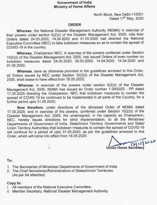 #MHA issues guidelines on measures to be taken by Ministries/Departments of Government of India, State Governments/UT Governments & State/UT authorities for containment of COVID19. #LockDown4 will remain in effect till 31st May 2020. https://t.co/OdgFgAR8Nv