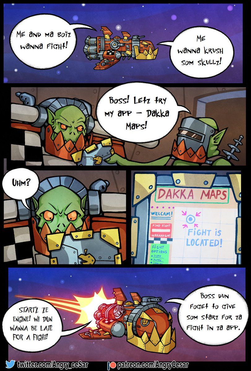 What`s that, boss? Oh, new page of my Warhammer comics! #cesar_art #warhammer40k #warhammer #comics #orks #Fury_flame_powershovels #patreoncreator