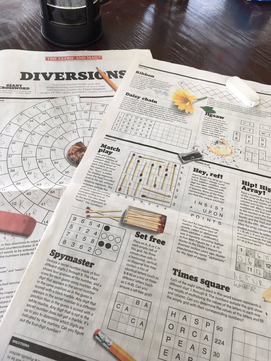 the globe and mail releasing eight pages of puzzles + a giant crossword is the best thing that's happened to me in months https://t.co/nuCXW1U58g