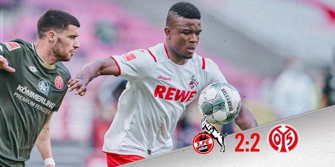 Colonia-Mainz 2-2, questo il risultato finale della partita valida per la 26a giornata di Bundesliga.