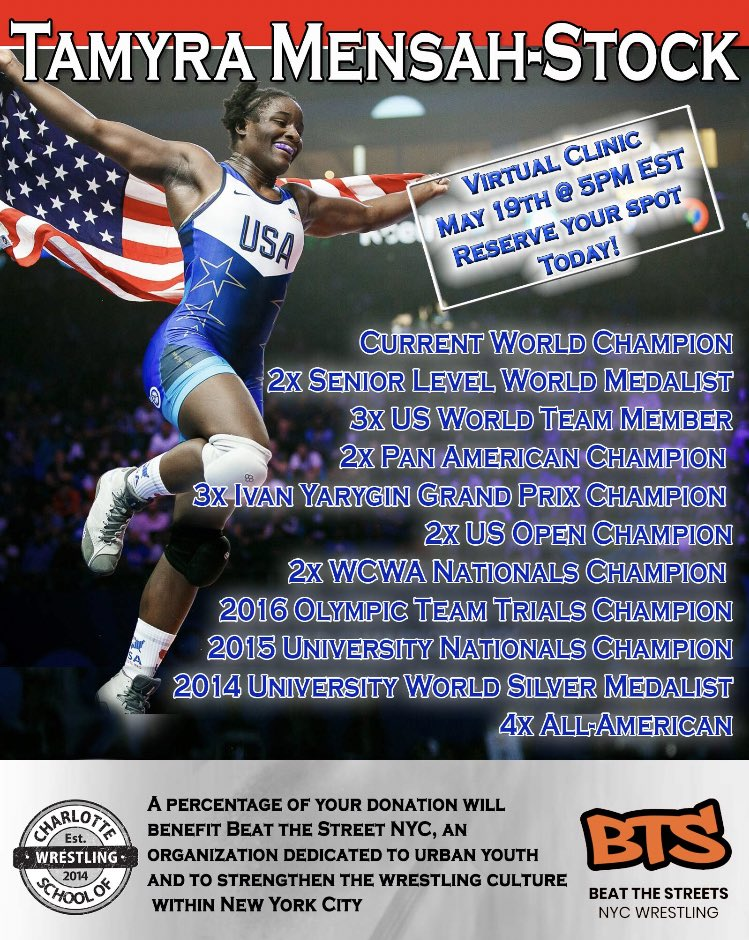 World Champion Tamyra Mensah-Stock will be joining BTS and the Charlotte School of Wrestling for a clinic on Tuesday, May 19 @ 5PM! Reserve your spot with a $25 donation at https://t.co/6DWTV9MK2o https://t.co/0lh6pqRM7U