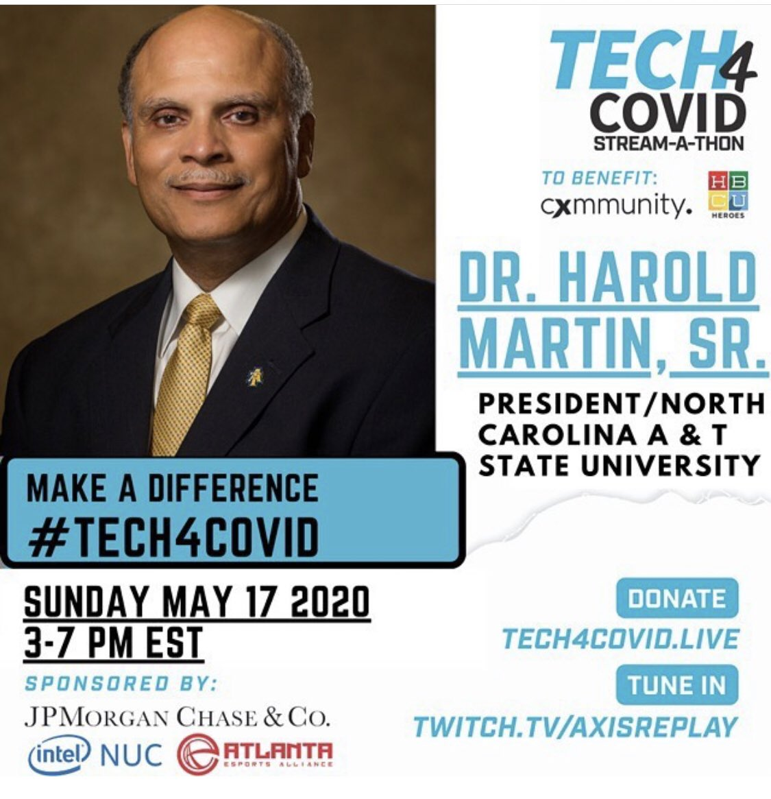Yet another special initiative. Join @WhoIsHLM along with many #HBCU leaders, @HBCUHeroes and others for #Tech4Covid. Discussing the #Tech needs of the #HBCU community (like wifi and laptops) during this pandemic. Tune in via https://t.co/xedqdP1bhA https://t.co/qcWpKf31cH