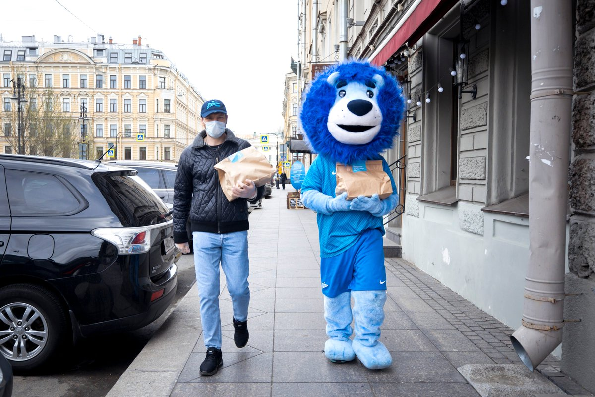 Fc Zenit In English On Twitter Former Zenit Player Alexey Igonin And Our Zenit Mascot Have Been Out Again On Food Delivery Duties Https T Co 1wofffdeuw Https T Co Srw5gy3vy7