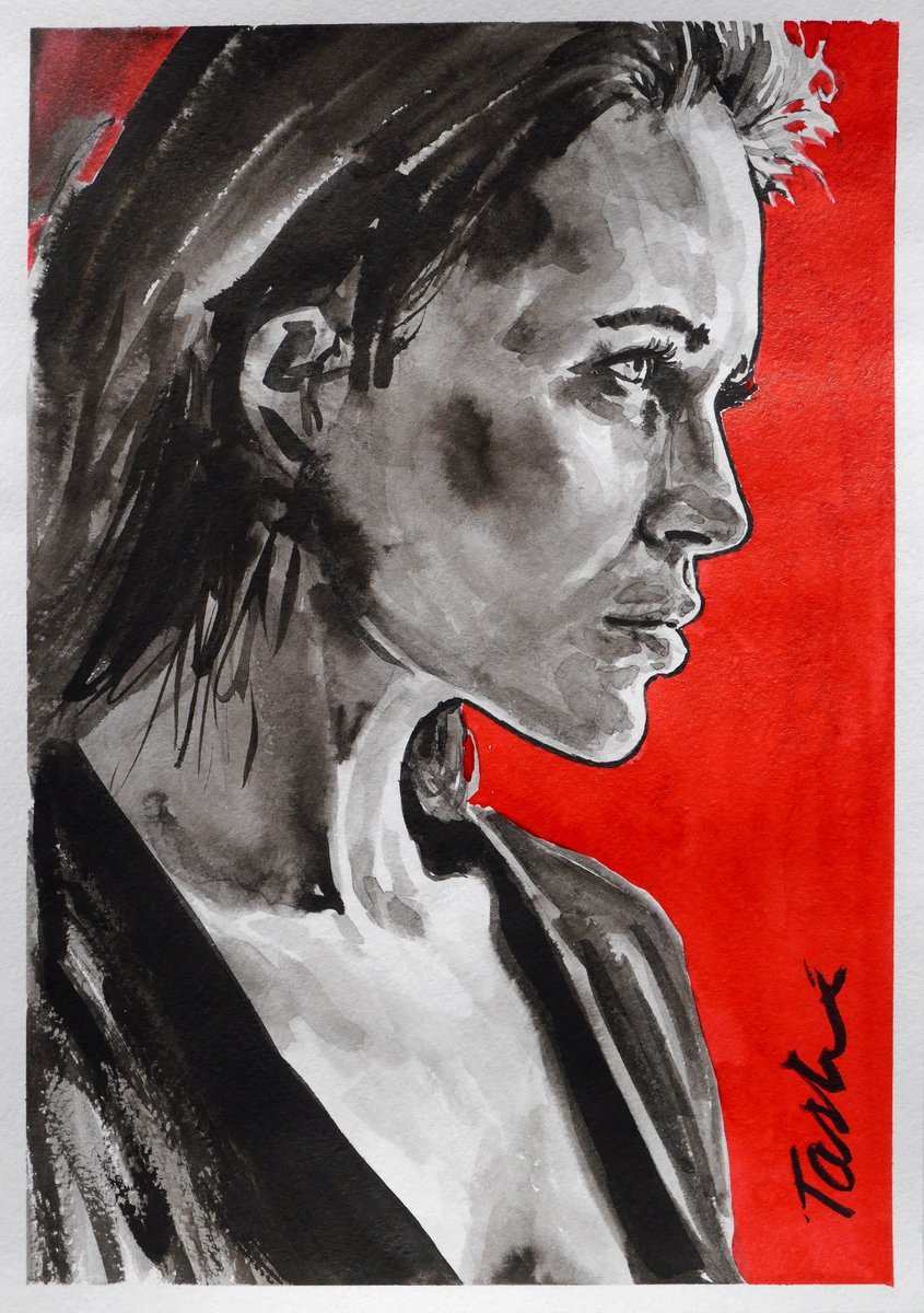 """Sweet evening my dear friends ! Wish you a warm evening with your loved one  """"Everyone wants happiness, nobody wants pain, but you can't have a rainbow without a little rain... It will be, don't  give up ."""" My drawing """"Red3""""  #tasheart #artcollector #artonline #lovepic.twitter.com/1pjZDbeJe7"""