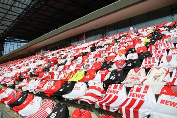 FC Koln fans leave scarves and shirts at their match against Mainz 05 today #effzeh