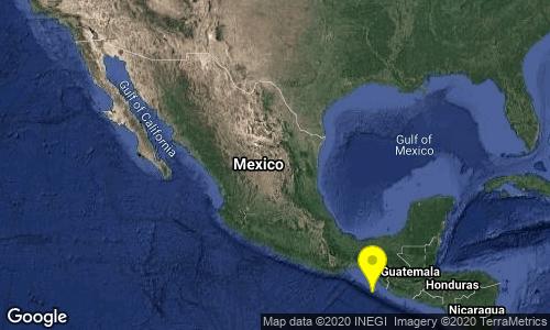 SISMO Magnitud 4.0 Loc 136 km al SUROESTE de HUIXTLA, CHIS 17/05/20 13:56:37 Lat 14.26 Lon -93.36 Pf 10 km