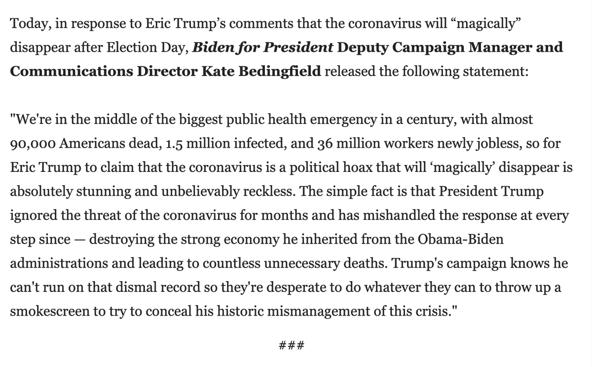 NEW: @KBeds responds to Eric Trump: With almost 90,000 Americans dead, 1.5 million infected, and 36 million workers newly jobless...for Eric Trump to claim that the coronavirus is a political hoax that will 'magically' disappear is absolutely stunning and unbelievably reckless.
