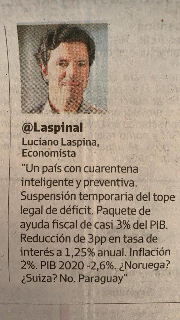 """""""Un país con cuarentena inteligente y preventiva, #inflación del 2%, #PIB 2020 proyectado del -2,6% y ayuda fiscal de casi 3% del #PIB""""   ¿De que país hablamos?  ¡Sigamos por este camino!  @LaspinaLpic.twitter.com/ZtvZPNtZ2V"""