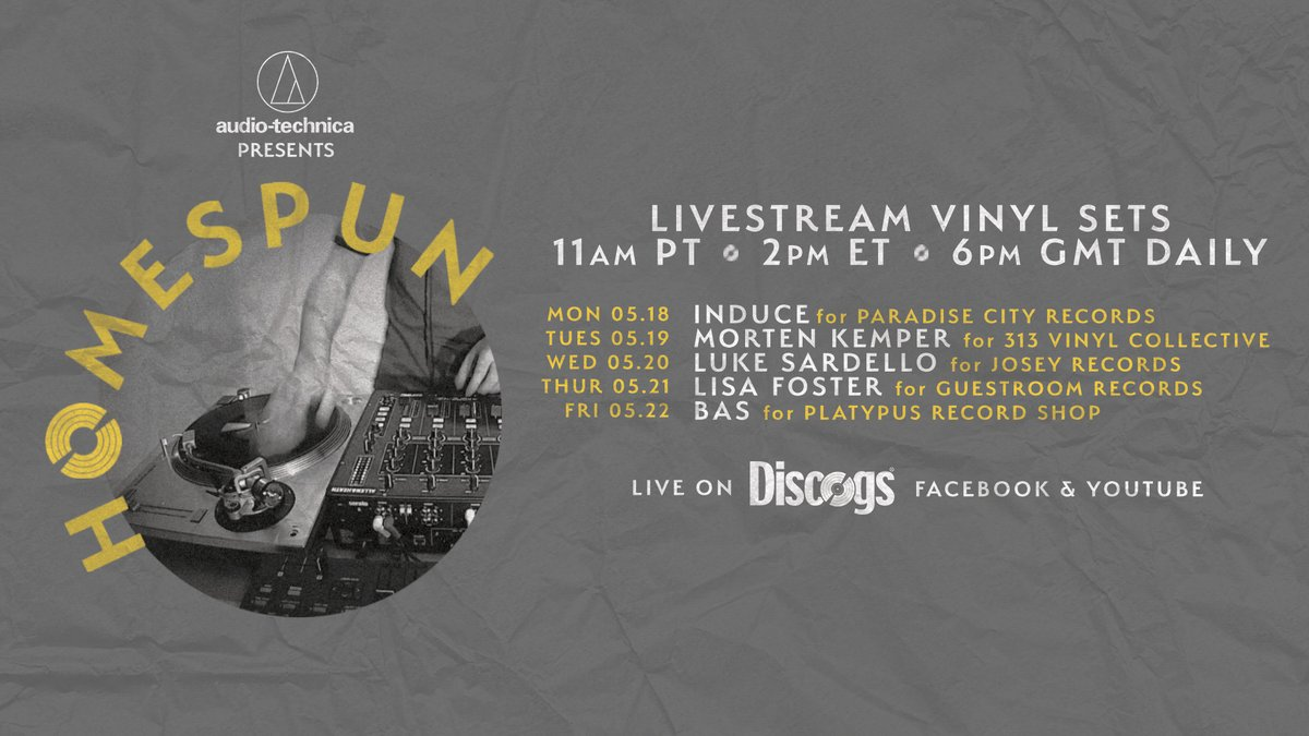 Homespun returns tomorrow with selectors spinning to support record shops across the world • Streams start tomorrow at 2pm ET/6pm GMT on our Facebook and Youtube