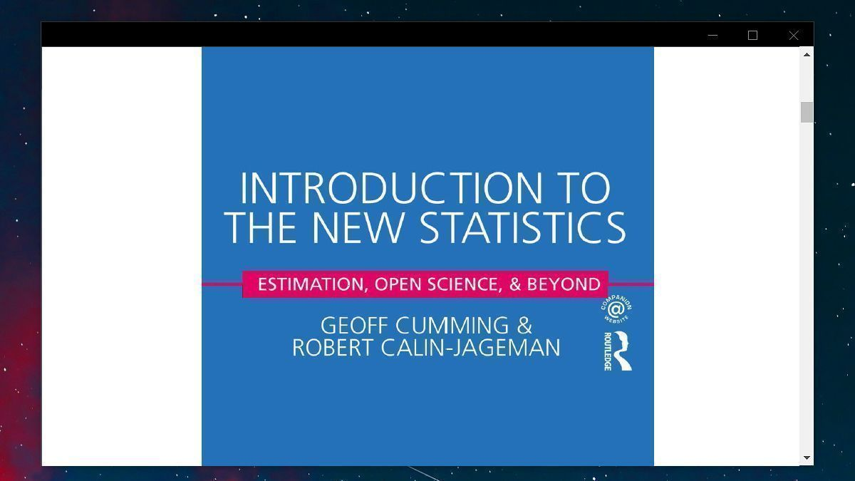 If there was a single statistics textbook I'd recommend all students (undergrad & postgrad) it is Introduction to the New Statistics. As scientists, more often than not we want estimate the magnitude & precision of the effects we study. Not merely whether p < .05  #phdchat https://t.co/NzY3yIvb7Y