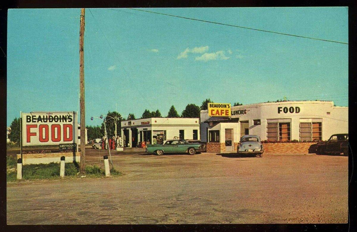 Beaudoins Cafe & Texaco Station, Naubinway - ca. 1950s (ebay) #MackinacCounty
