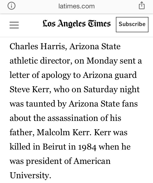 Arizona State fans taunted Steve Kerr about his dead father before a rivalry game and responded by going 6-6 from 3 in a blowout win. Steve Kerr was one of the mentally toughest dudes to ever play basketball. https://t.co/puzCUQQc15 https://t.co/gM0Uo2Iw3y