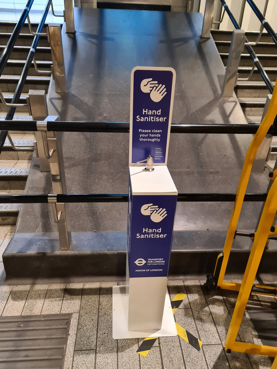 Liverpool Street underground station now has hand sanitisers on the main concourse, please use them where possible! And continue to maintain social distancing and where possible where a face mask. Only travel on the rail network if your journey is essential