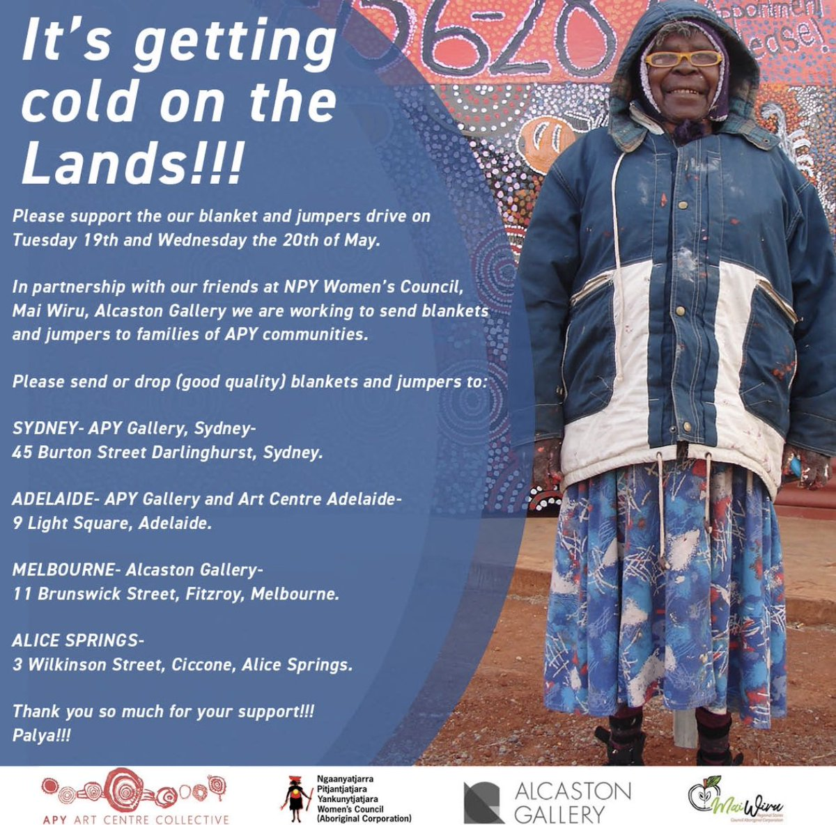 A reminder for our wonderful friends in Sydney, Mebourne and Adelaide, please support our blanket and jumpers drive, and let us put your unused blankets and warm jumpers to good use on the APY Lands this winter! We are so grateful for your support!🖤💛❤️