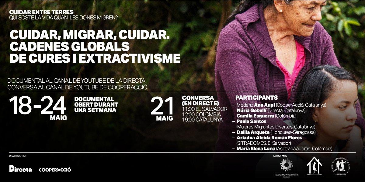 #PROJECCIÓ | Des d'avui i fins diumenge pots veure el documental #CuidarEntreTerres fet amb @CooperAccio al canal de YouTube de la #Directa ▶ https://t.co/T1ETN4MKAI  Dijous a les 19h 👉 col·loqui amb Camila Esguerra, Paula Santos, Dalila Arqueta, Ariadna Román i Maria Luna https://t.co/z9mEruGiUf