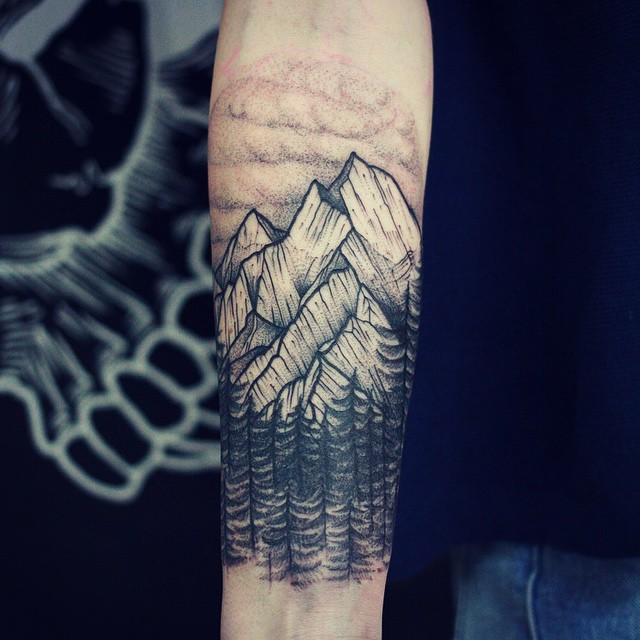 Mike Tattoo Artist On Twitter The Tree And Mountain Landscape Tattoos Now This Tattoo Is Just So Cool To Look At Seriously Everyone Will Be Asking To Check Out Once You Get