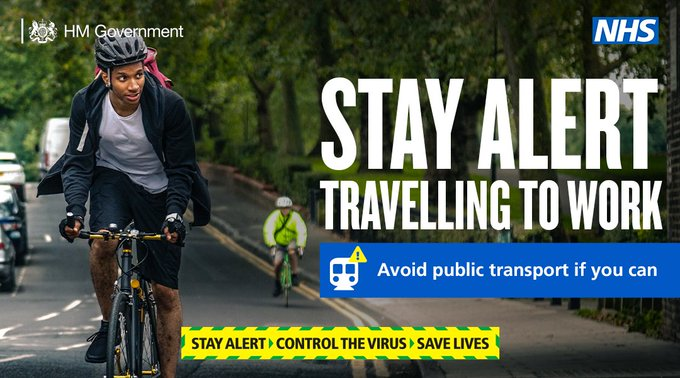 Image: man on a bicycle. Stay alert travelling to work - avoid public transport if you can.