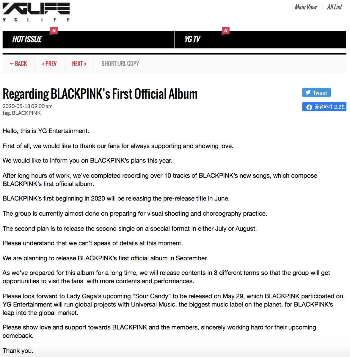 #BLACKPINK 정규 앨범에 대하여  #블랙핑크 #YGpic.twitter.com/UNOqY8pkj4