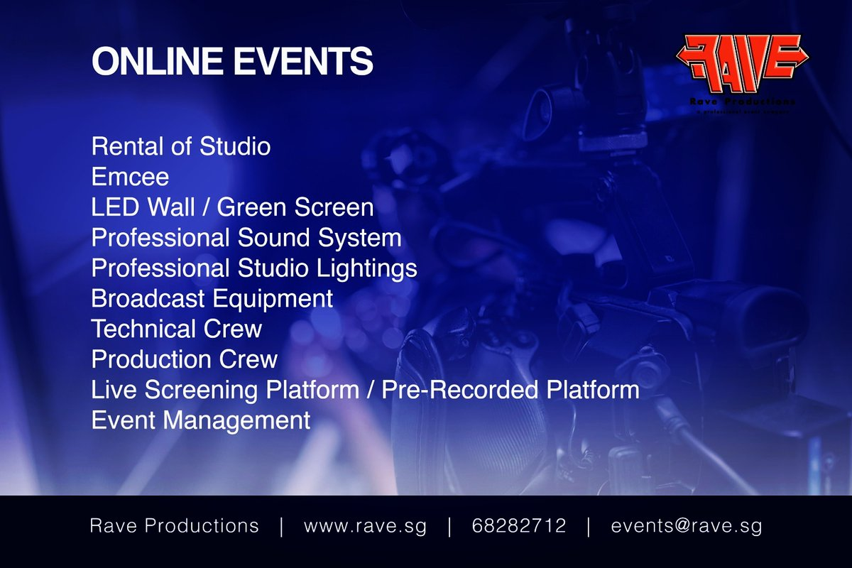 We have launched our fully equipped in-house virtual events management facility.  Call +65 62828712 or email us for your next digital execution.  Available for local and international virtual events.  #livestream #onlineevents #sgevents #sgonline #virtualevents #virtualmeetingpic.twitter.com/LlC5fguEry