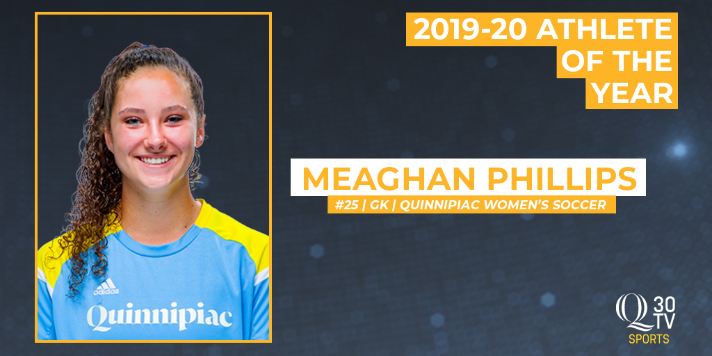 The people have spoken...  Meaghan Phillips (@QU_WSOC) is your @Q30Sports 2019-20 Athlete of the Year!  Phillips was named co-MAAC Rookie of the Year in 2019 after recording five shutouts and leading the Bobcats to the conference semifinals.  #Quinnipiac | #BobcatNation https://t.co/qpy9LIag2K