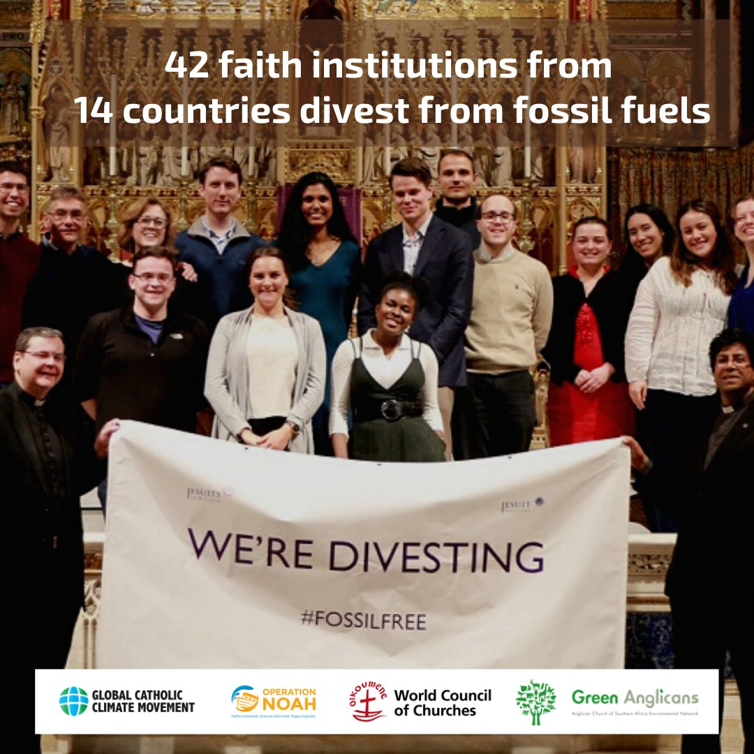 BREAKING: Today 42 faith institutions from 14 countries #divest from fossil fuels in the largest ever faith divestment announcement! @CathClimateMvmt @Oikoumene @WCCclimate @greenfaithworld @Greenanglicans https://t.co/qwKE4GsuBg https://t.co/lOOxBoYqUa