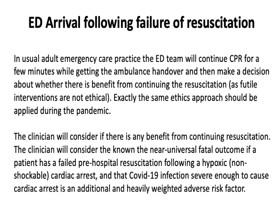 3/5. In a patient who arrives in the ED still in cardiac arrest following failure of pre-hospital treatment, normal decision making is followed (but I would argue that this should be done in the back of the ambulance rather than in the ED). https://t.co/kHSBeTsoV9