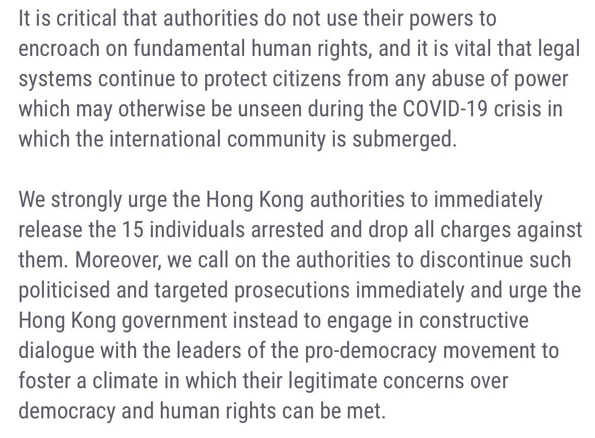 Alongside @IBAHRI, @thebarcouncil and @ICJ_org, and joined by other international legal organisations, we urged the Hong Kong authorities to drop all charges against these 15 individuals. UNSR @MaryLawlorhrds has voiced her strong objections. Today the prosecutions have begun.